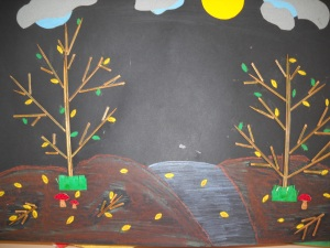 paesaggio con stuzzicadenti- lavoretto scuola