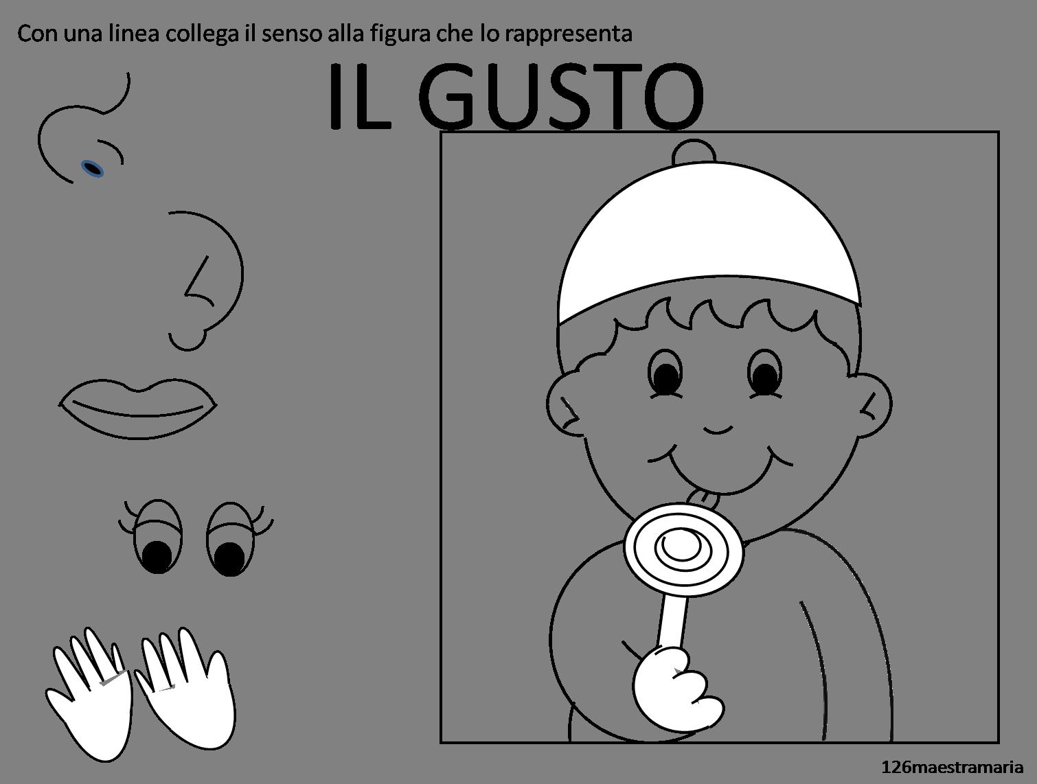 Conosciuto Schede sui cinque sensi da colorare | Maestramaria LH82