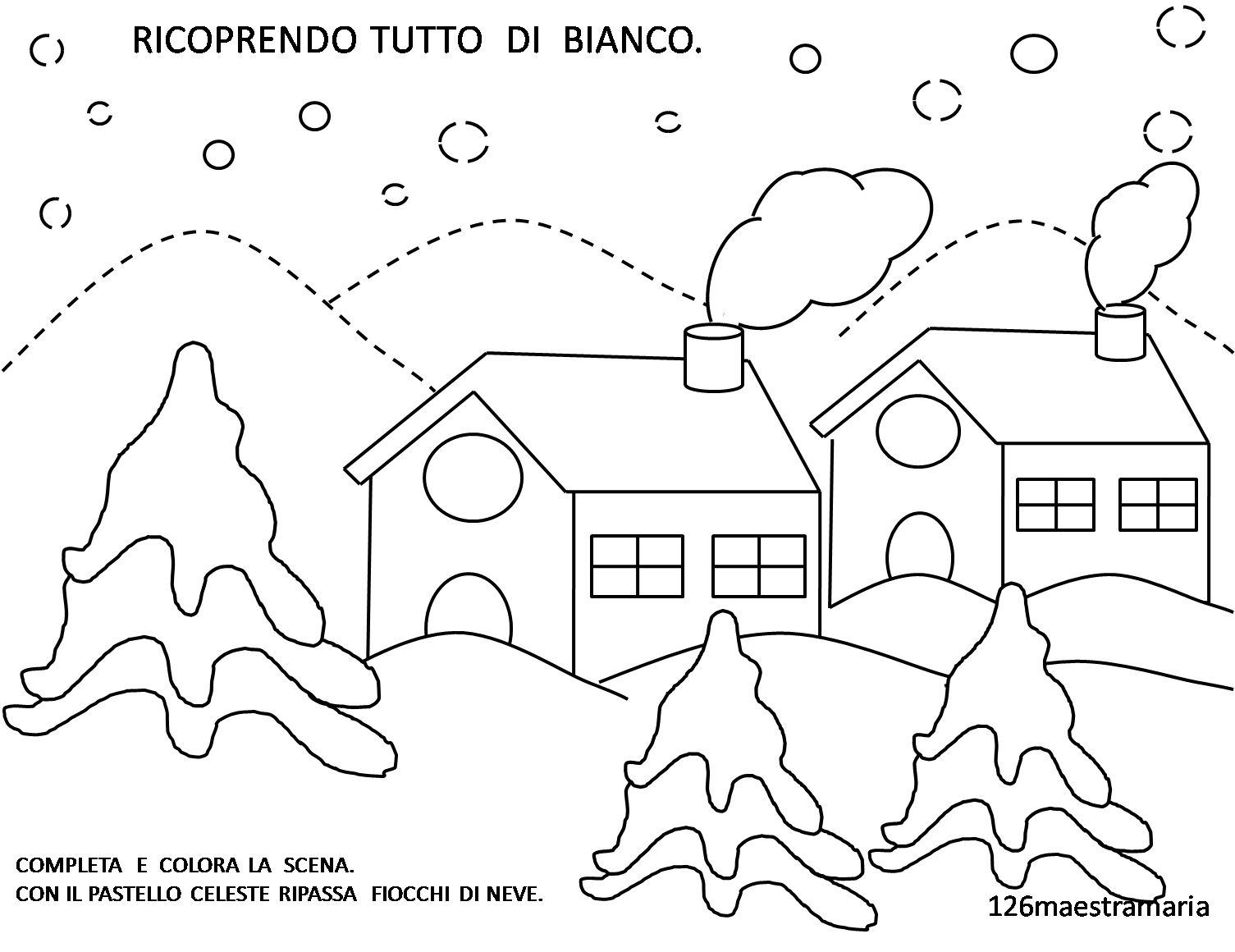 Schede di pregrafismo maestramaria for Paesaggio invernale disegno