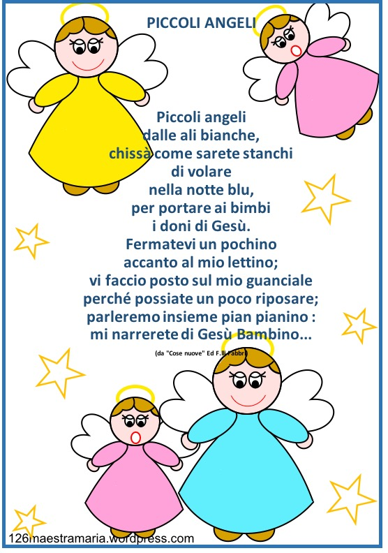 Natale biglietto con poesia e angeli da colorare for Angeli da stampare e colorare