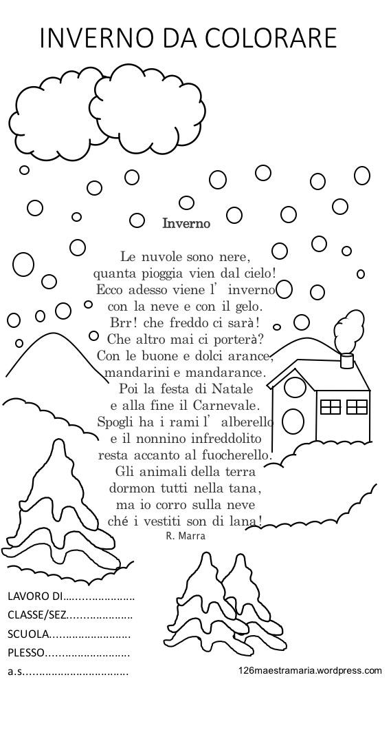 Libretto con poesia da colorare per la stagione invernale maestramaria - Testo prima o poi gemelli diversi ...
