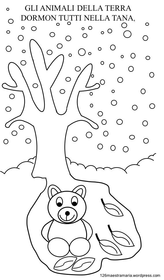 Libretto con poesia da colorare per la stagione invernale for Paesaggio invernale da colorare
