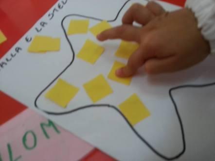incolliamo pezzi di carta gialla